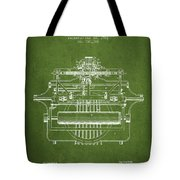 1903 Type Writing Machine Patent - Green Tote Bag