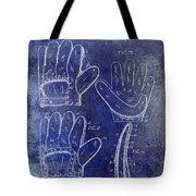 1910 Baseball Glove Patent Blue Tote Bag