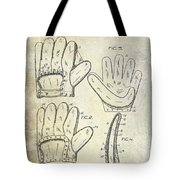1910 Baseball Glove Patent  Tote Bag
