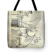 1914 Drum And Cymbal Patent Tote Bag