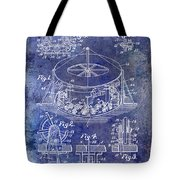 1916 Merry Go Round Patent Blue Tote Bag