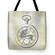 1916 Pocket Watch Patent Tote Bag
