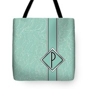 1920s Blue Deco Jazz Swing Monogram ...letter P Tote Bag
