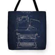 1923 Typewriter Screen Patent - Navy Blue Tote Bag