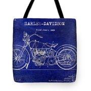 1928 Harley Davidson Patent Drawing Blue Tote Bag