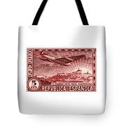 1931 Airplane Over Madrid Spain Stamp Tote Bag