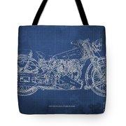 1939 Brough Superior Ss100 Blueprint Blue Background Tote Bag