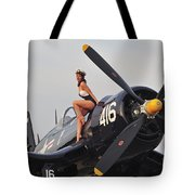 1940s Style Navy Pin-up Girl Sitting Tote Bag