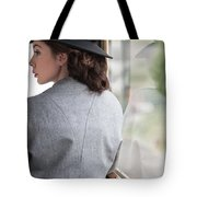 1940s Woman Making A Journey On Public Transport Tote Bag