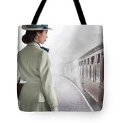 1940's Woman On A Railway Platform With Steam Train  Tote Bag