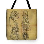 1942 Chopper Motorcycle Patent Tote Bag