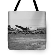 1944 B-24 H Plane In Field W/ Sheeep Pantanella Airfield Italy Tote Bag