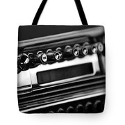 1947 Cadillac Radio Black And White Tote Bag