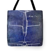 1949 Airplane Patent Drawing Blue Tote Bag