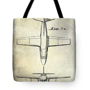 1949 Airplane Patent Drawing Tote Bag