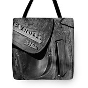1950 Chevrolet Truck Emblem Black And White Tote Bag
