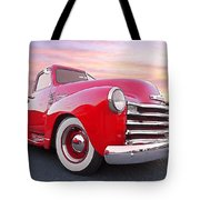 1950 Chevy Pick Up At Sunset Tote Bag