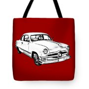 1950  Ford Custom Antique Car Illustration Tote Bag