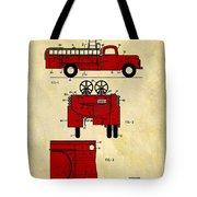 1950 Red Firetruck Patent Tote Bag