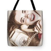 1950s Pinup Girl Talking On Retro Phone Tote Bag