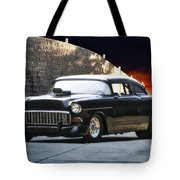 1955 Chevrolet Coupe 'sinister Chevy' Tote Bag