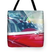 1955 Chevy Bel Air With Flag Tote Bag