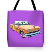 1955 Lincoln Capri Fine Art Illustration  Tote Bag