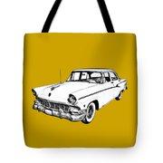1956 Ford Custom Line Antique Car Illustration Tote Bag