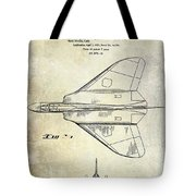 1956 Jet Airplane Patent 2 Blue Tote Bag