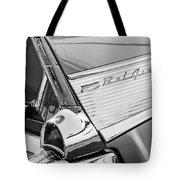 1957 Chevrolet Bel Air Tail Light Emblem -0140bw Tote Bag