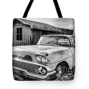 1958 Chevy Del Ray In Black And White Tote Bag