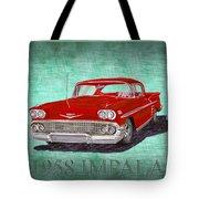 1958 Impala By Chevrolet Tote Bag