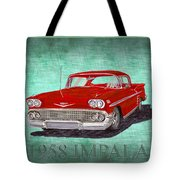 1958 Impala By Chevrolet Tote Bag
