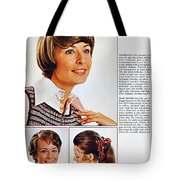 1960 70 Stylish Female Hair Styles Brown Tote Bag