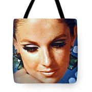 1960 70 Stylish Lady In Blue Tote Bag