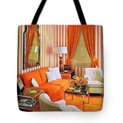 1960 70 Stylish Living Room Advertisement Orange And Stripes Groovy Baby Tote Bag