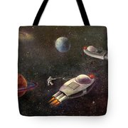 1960s Outer Space Adventure Tote Bag