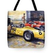 1961 Spa-francorchamps Ferrari Garage Ferrari 156 Sharknose  Tote Bag