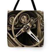 1963 Chevrolet Corvette Steering Wheel - Sepia Tote Bag