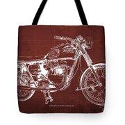1963 Triumph Bonneville, Blueprint Red Background Tote Bag