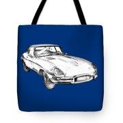 1964 Jaguar Xke Antique Sportscar Illustration Tote Bag