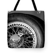 1964 Morgan 44 Spare Tire Black And White Tote Bag