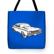 1968 Plymouth Roadrunner Muscle Car Illustration Tote Bag