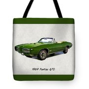 1969 Green Pontiac Gto Convertible Tote Bag