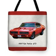 1969 Red Pontiac Gto The Judge Tote Bag