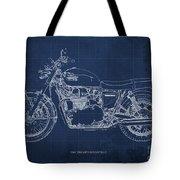 1969 Triumph Bonneville Blueprint Blue Background Tote Bag