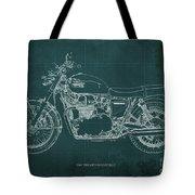 1969 Triumph Bonneville Blueprint Green Background Tote Bag