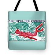 1972 Comoro Islands Spearfishing Postage Stamp Tote Bag