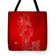 1973 Space Suit Patent Inventors Artwork - Red Tote Bag by Nikki Marie Smith