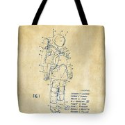 1973 Space Suit Patent Inventors Artwork - Vintage Tote Bag by Nikki Marie Smith